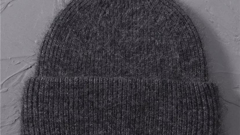 Dark Grey Wool Beanie