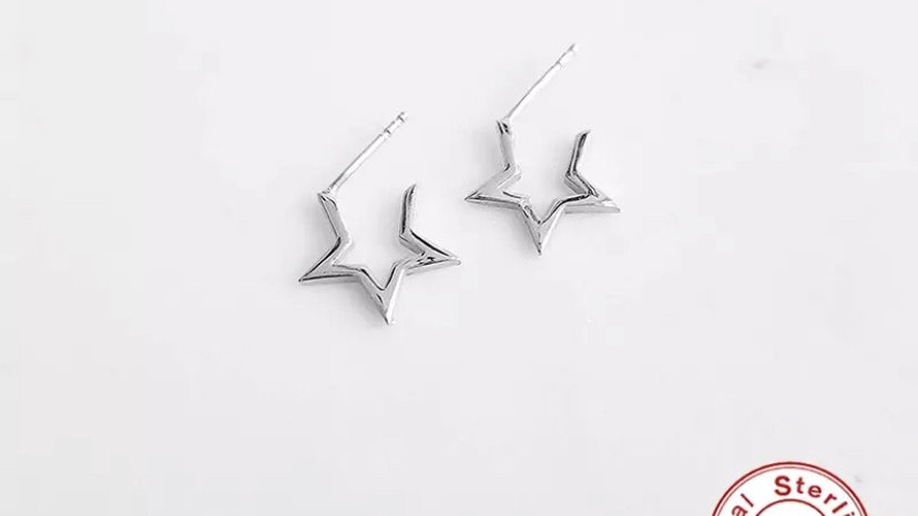 Small Star Hoops Silver