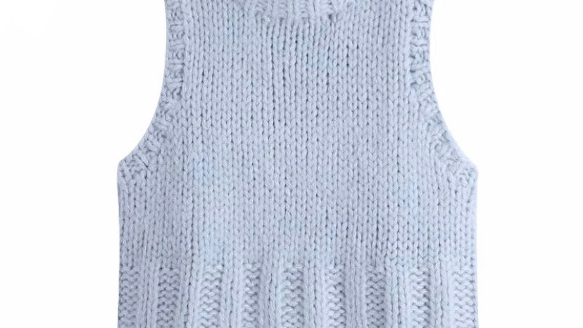 Pastel Blue Chunky Knitted Vest