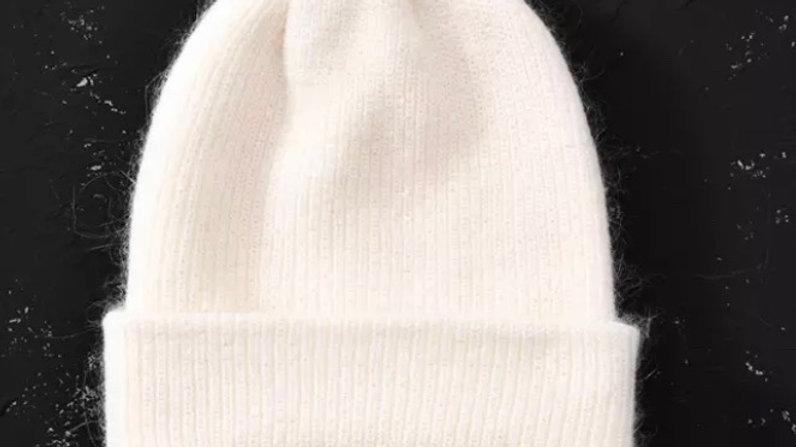 White Wool Beanie