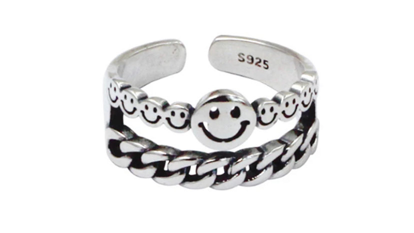 Smiley Chain Ring