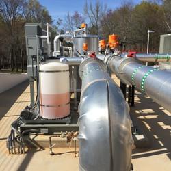 outdoor piping at pump skid and control valves