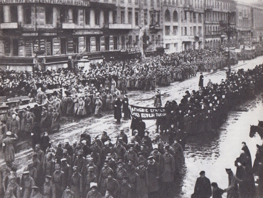 Funeral march for the victims of the February Revolution, Petrograd, Nevsky Prospect, March 1917