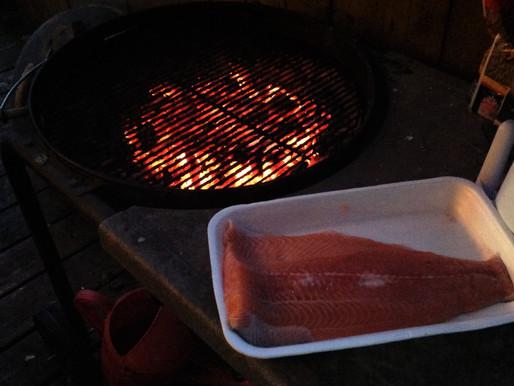 BBQ salmon half fillets w. Montreal Steak Spice
