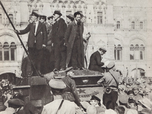 Yakov Sverdlov addresses a huge crowd on May Day, Red Square, 1918