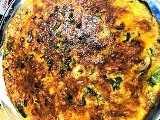 """Spinach, mushroom, leek and jalapeno """"impossible"""" pie -- Vintage Cookbook TBT"""