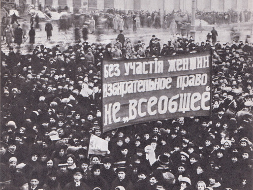 Women's rally in Petrograd demanding equal voting rights, March 1917