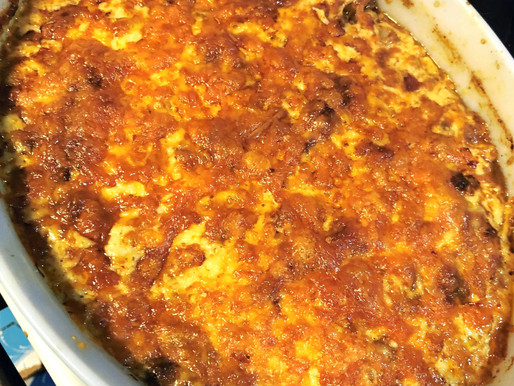 Spicy Beef, Cheese, Tomatillo & Hominy Chili Casserole