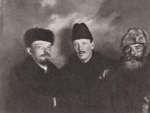 V. I. Lenin, Demyan Bedny and F. Panfilov at the Congress of the RCP (b) Moscow, March 23 1919