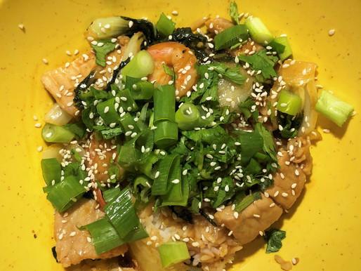 Shrimp, pork and bok choy spicy peanut satay sauce stir fry