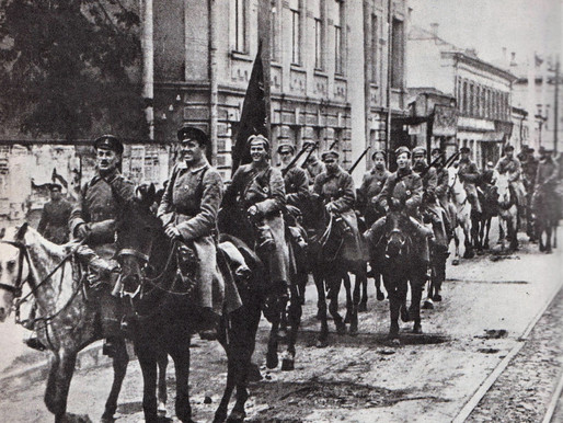 The Red Army enters Kazan during the early Civil War, 1918