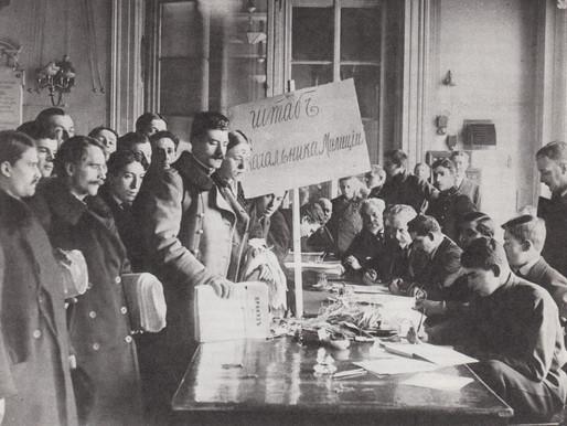 Volunteers enroll in the people's militia, Petrograd, March 1917