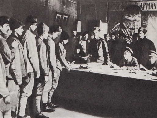 Red Army volunteers line up at a recruitment centre, Petrograd 1918
