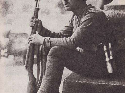 Red Guard I. Krasnyansky outside the Bolshoi Theater Moscow, July 1918