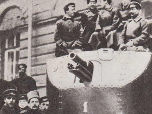 Armored car arrives at Smolny to support the Revolutionary Military Committee, October 25 1917