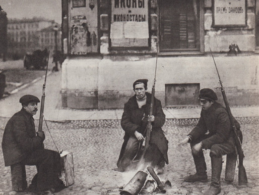Red Guard patrol campfire on the streets of Petrograd in the early days of the Revolution