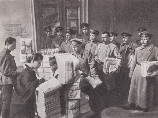 Izvestia is issued at the Petrograd Soviet for delivery to troops at the front, 1917
