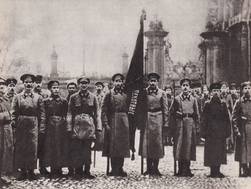 A group of Red infantrymen at the Winter Palace, Petrograd 1918