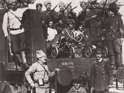 Red Army troops arrive on an armoured train, 1918