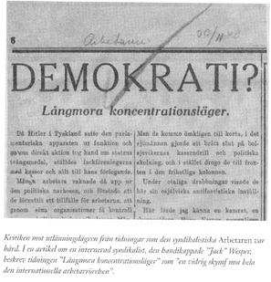 Media skriver om Långmora koncentrationsläger.