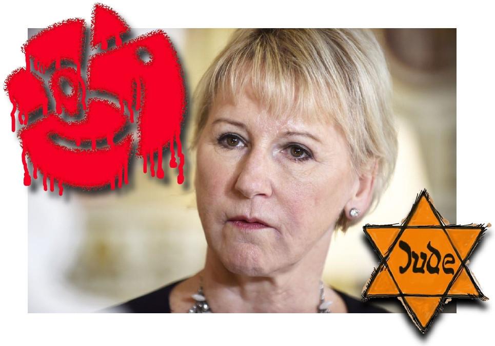 Kritik mot Israels politik är av självklara skäl legitimt, men när debatten om Mellanöstern används för att legitimera judehat måste demokratiska krafter reagera. Vi förväntar oss nu ett tydligt avståndstagande från den socialdemokratiska partiledningen med Löfven i spetsen som ständigt påminner oss hur anständigt hans parti är.    Det värst av allt är väl ändå att var fjärde svensk som röstar på detta socialistiska parti också är antisemiter och judehatare. Ett tydligt bevis hur skrämmande indoktrinerade stora delar av befolkningen blivit av socialisternas mycket effektiva och farliga propagandaapparat!