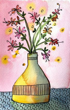 golden vase on pink