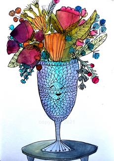 blue stork vase
