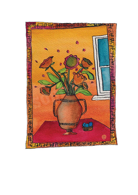 Saffron Flowers & Duck Egg Pebbles A4 Print