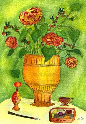 golden vase  with perfume bottle - SOLD