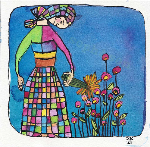 "Ethel in the Garden - 6"" Square Painting"