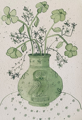 owl vase in green - SOLD
