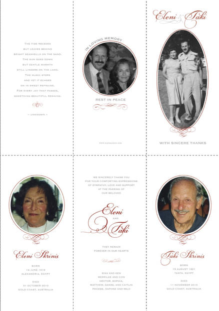 Memorial Booklet 6 pages