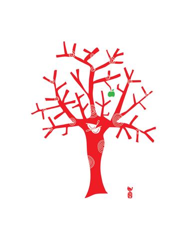 Love Birds in an Apple Tree