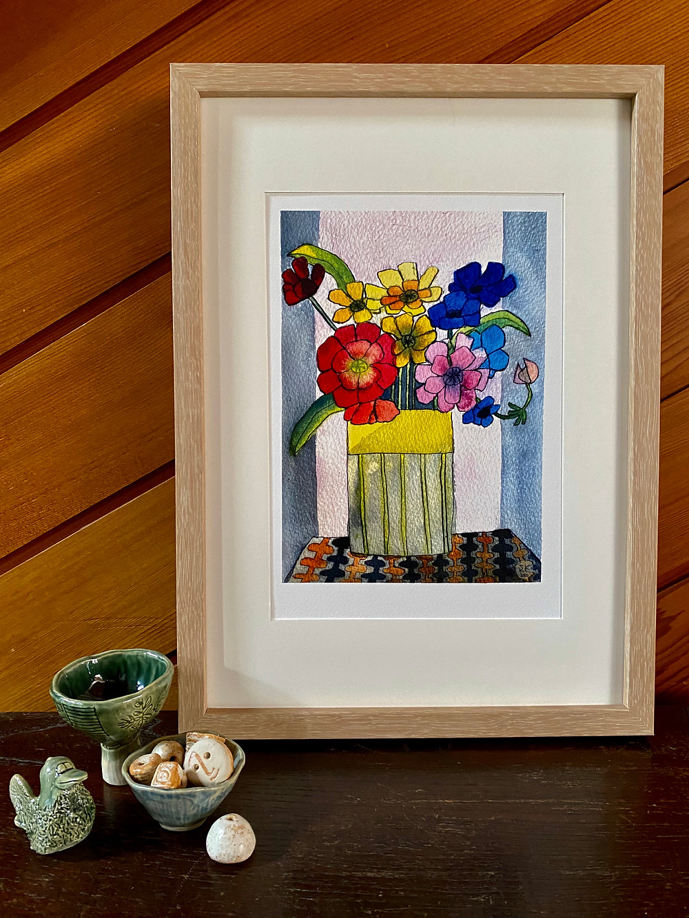Framed print by soph&son available at Etsy store. Ceramics also by soph&son.