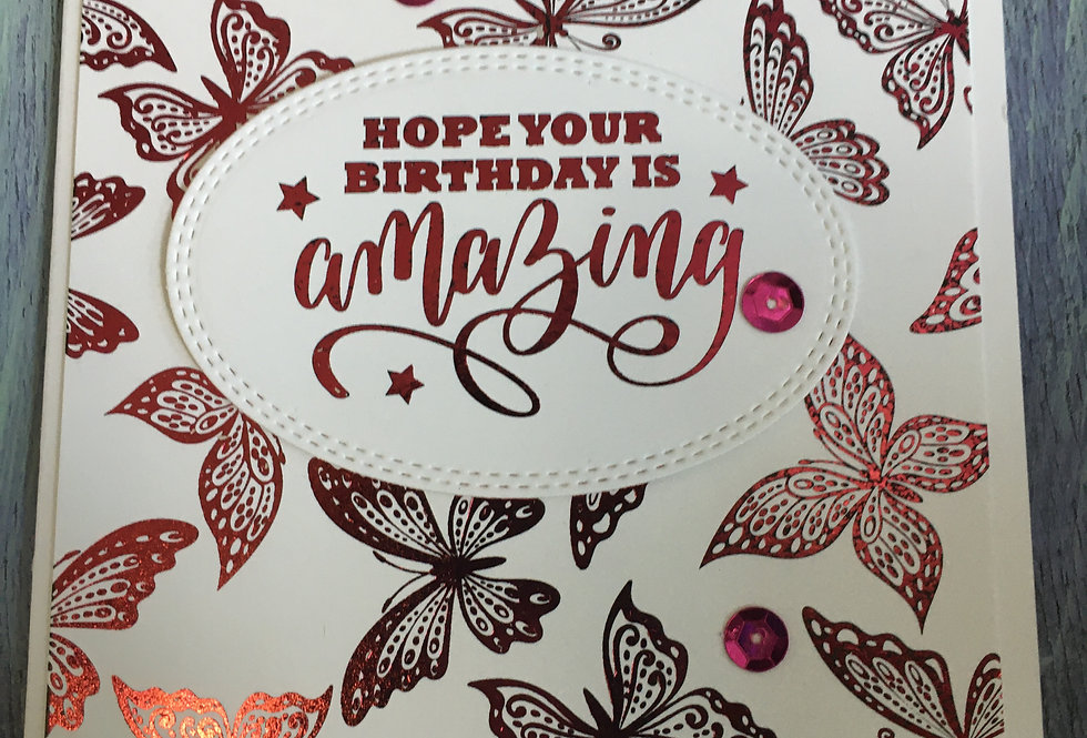 Pink Foil Butterfly Birthday Card