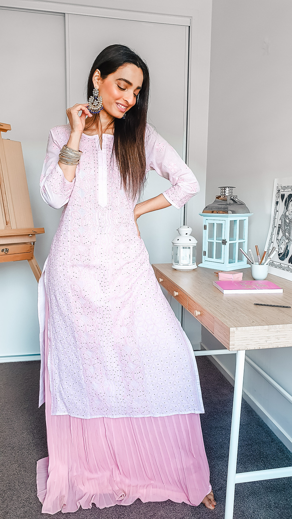 girl blogger at wackyvanilla.com wearing pink chikankari kurta with pink blush coloured pleated long skirt to show how to style a kurta in 7 different ways to create indo-western fusion style outfit