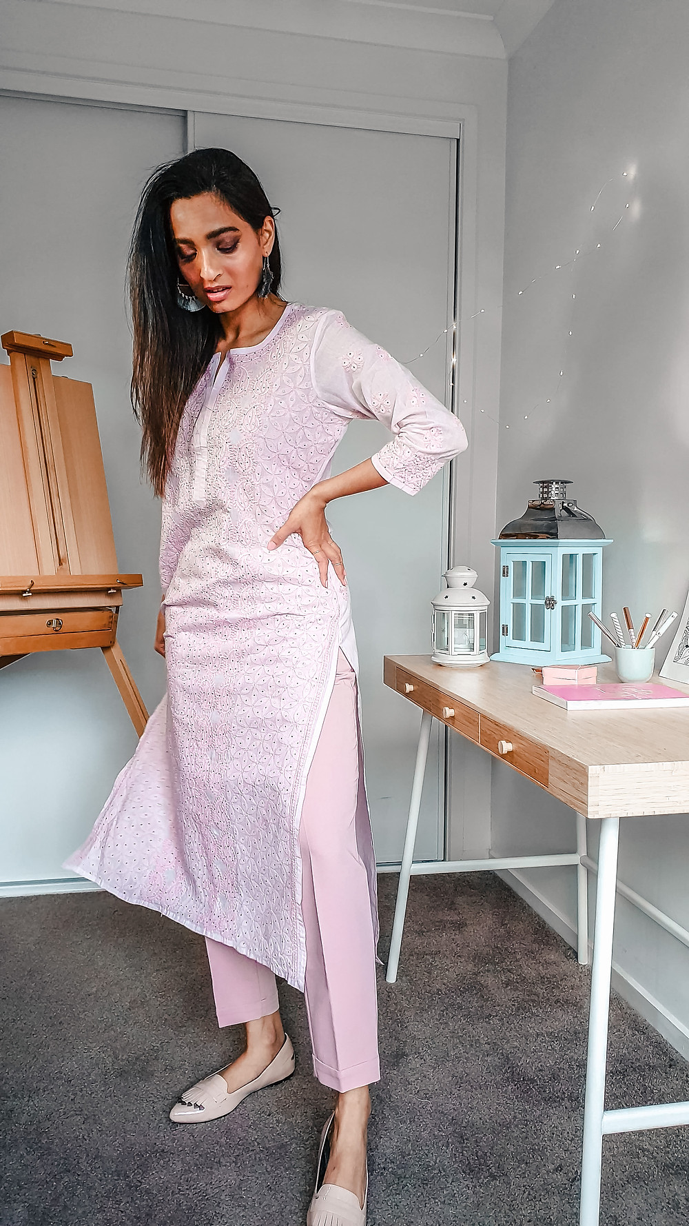 girl blogger at wackyvanilla.com wearing pink chikankari kurta with pink blush coloured trousers to show how to style a kurta in 7 different ways to create indo-western fusion style outfit