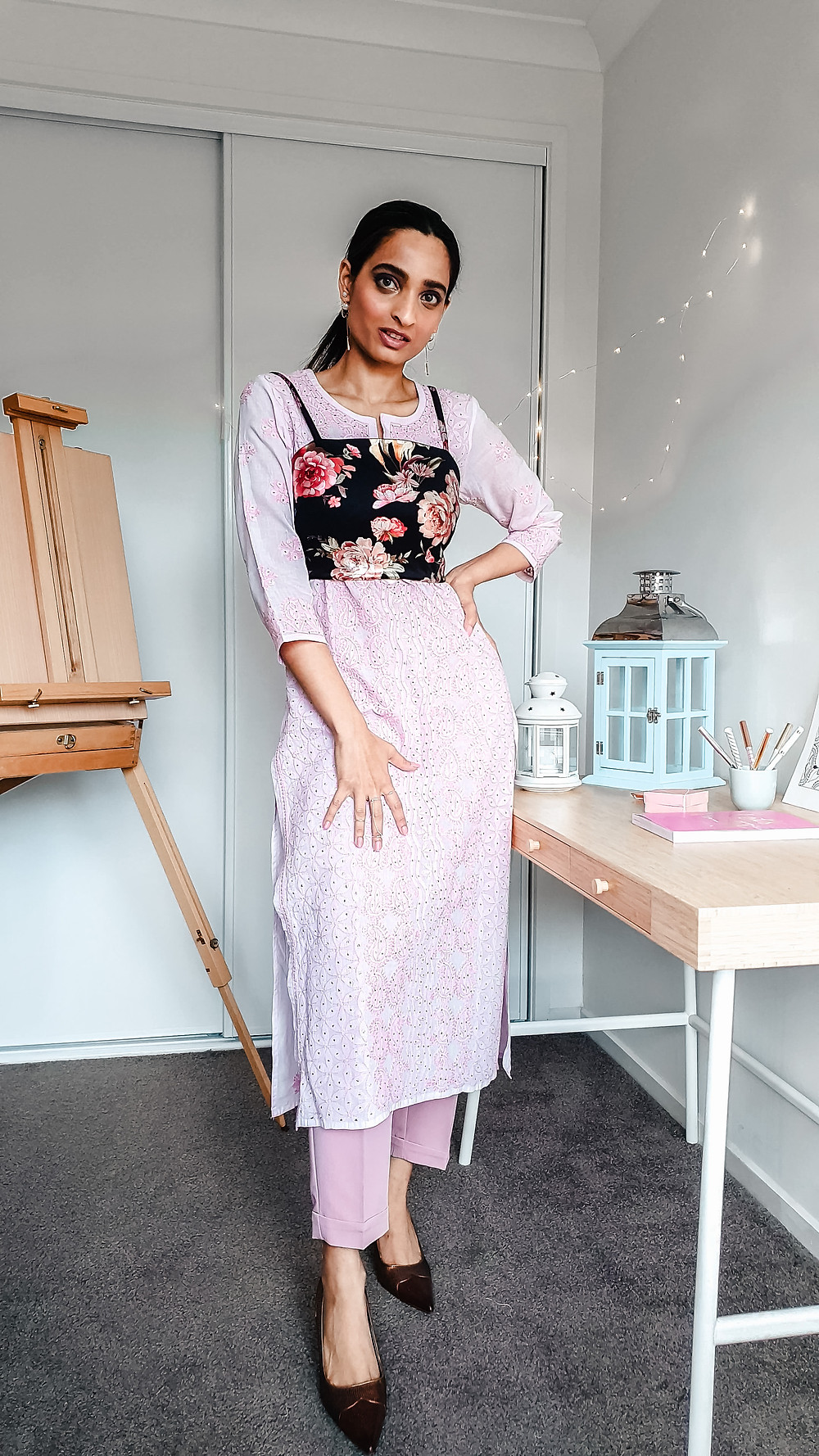 girl blogger at wackyvanilla.com wearing pink chikankari kurta with pink blush coloured trousers and floral crop top to show how to style a kurta in 7 different ways to create indo-western fusion style outfit