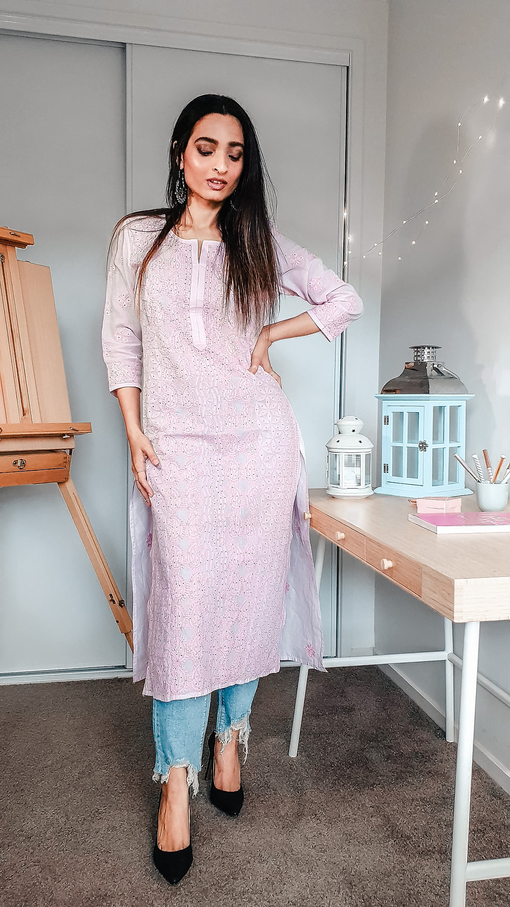 girl blogger at wackyvanilla.com wearing pink chikankari kurta with jeans to show how to style a kurta in 7 different ways to create indo-western fusion style outfit