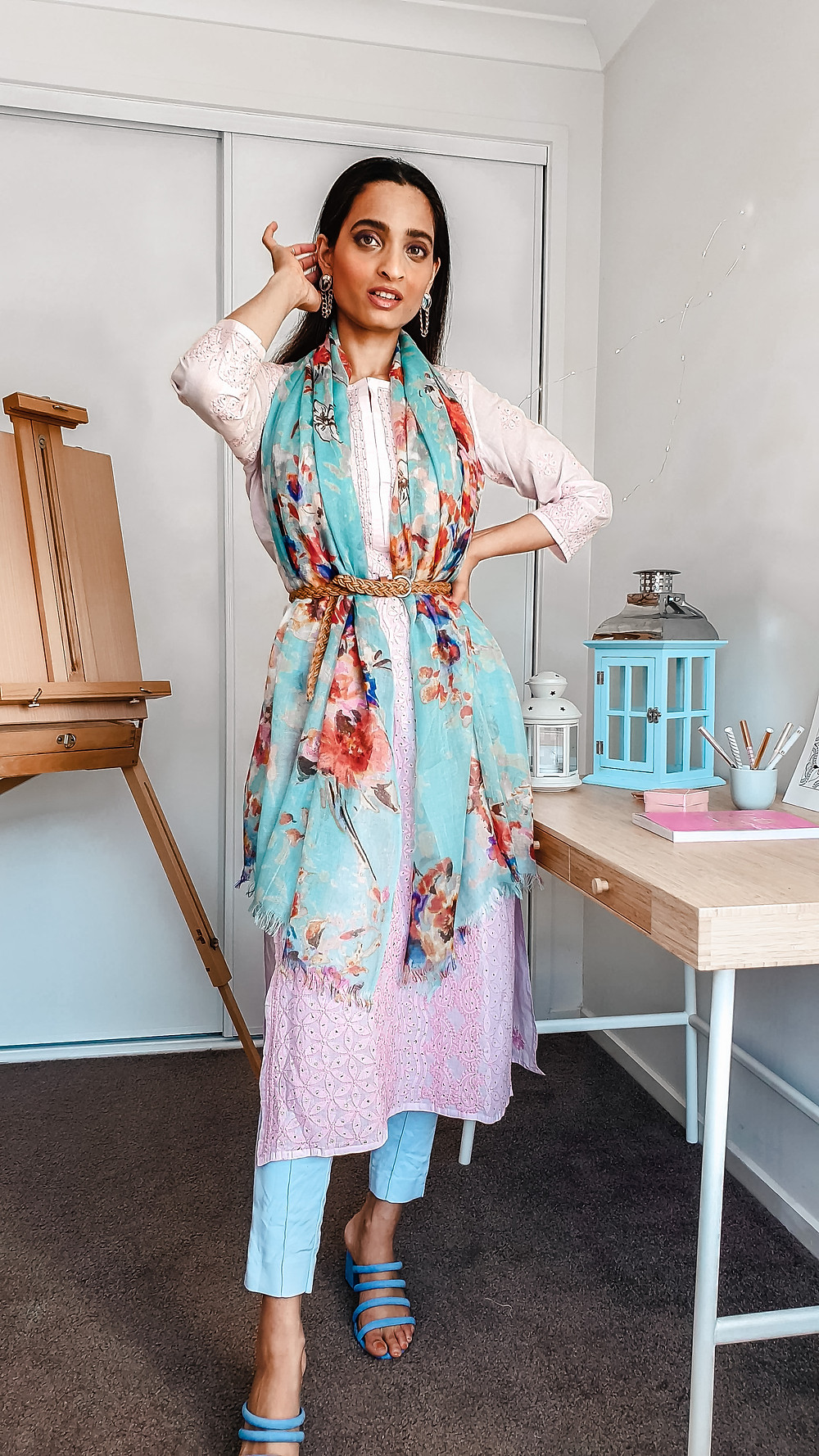 girl blogger at wackyvanilla.com wearing pink chikankari kurta with ice blue coloured trousers and floral blue scarf to show how to style a kurta in 7 different ways to create indo-western fusion style outfit