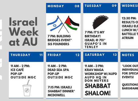 """Monday Marks the Start to """"Israel Week"""" at AU"""