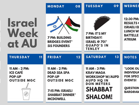 "Monday Marks the Start to ""Israel Week"" at AU"
