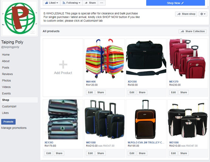 Facebook page E-wholesale page: https://www.facebook.com/pg/taipingpoly/shop/?ref=page_internal
