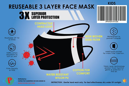 Poly-Pac 3 Layer Washable Reusable Face Mask