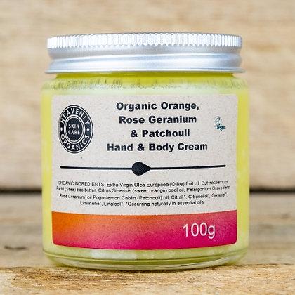 Heavenly Organics - Hand and Body Cream - Orange, Rose and Patchouli