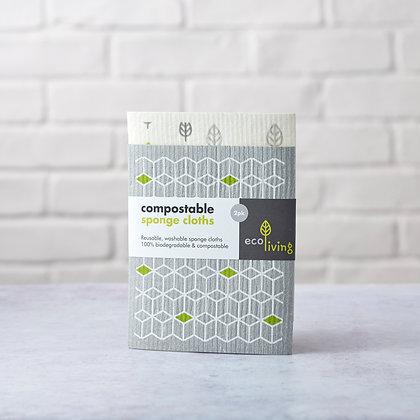 Compostable sponge cloths