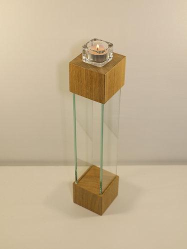 Bougeoir design en chêne et verre, 42 cm