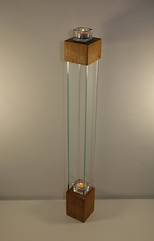 Bougeoir design en chêne et verre, 77cm