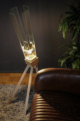Lampe design en chêne et verre