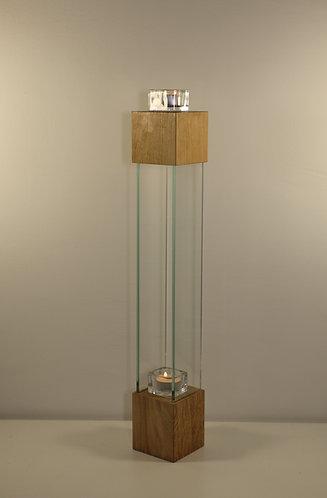 Bougeoir design en chêne et verre, 56 cm